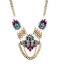 River Island | Metallic Encrusted Plastic Short Statement Necklace | Lyst