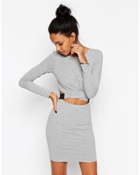 ASOS | Gray Cross Front Long Sleeve Mini Bodycon Dress | Lyst