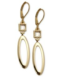 T Tahari - Metallic Gold-tone Crystal Open Oval Drop Earrings - Lyst