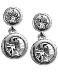 T Tahari - Metallic Earrings, Silver-tone Crystal Double Drop Earrings - Lyst