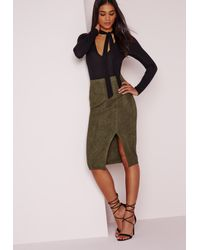 Missguided   Multicolor Thigh Split Faux Suede Midi Skirt Khaki   Lyst