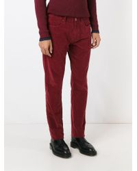 Incotex | Red Straight Leg Trousers for Men | Lyst
