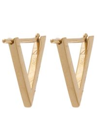 Noor Fares - Metallic Gold Ruby Triangle Hoop Earrings - Lyst