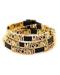 Moschino - Black Logo Plaque Bracelet - Lyst