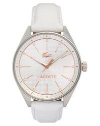 Lacoste - White 'philadelphia' Leather Strap Watch - Lyst