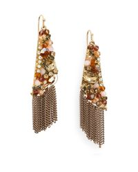 Saks Fifth Avenue | Metallic Glitz & Bead Fringe Drop Earrings/goldtone | Lyst