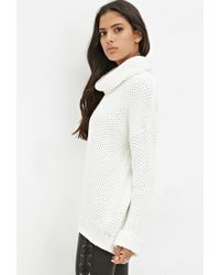 Forever 21 - Natural Waffle Knit Turtleneck Sweater - Lyst