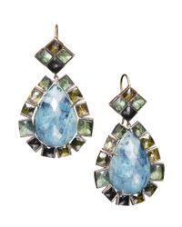 Nak Armstrong | Blue Yellow Gold Aquamarine And Mixed Green Tourmaline Earrings | Lyst