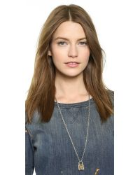 Rebecca Minkoff | Metallic Long Locked Charm Necklace - Silver/Gold | Lyst