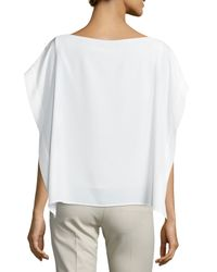 Tibi - White Cape-sleeve Tie-front Top - Lyst