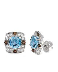 Le Vian | Blue 14kt White Gold Quartz And Topaz Stud Earrings | Lyst