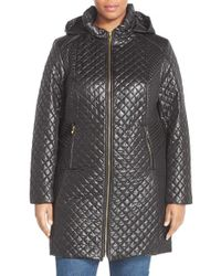 Via Spiga | Black Stand Collar Quilted Coat With Detachable Hood | Lyst