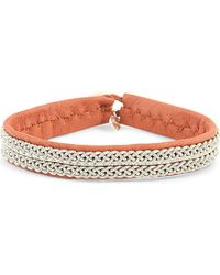 Maria Rudman | Metallic Leather And Embroidered Pewter Bracelet | Lyst