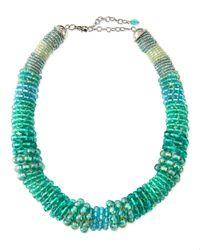Marina Rinaldi   Blue Laser Beaded Tube Necklace   Lyst