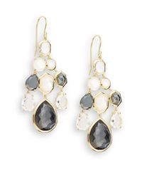 Ippolita - Metallic Rock Candy Hematite, Clear Quartz, Mother-of-pearl & 18k Yellow Gold Doublet Chandelier Earrings - Lyst