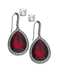 INC International Concepts - Hematite-tone Red Stone And Pave Edge Teardrop And Round Clear Crystal Stud Earring Set - Lyst