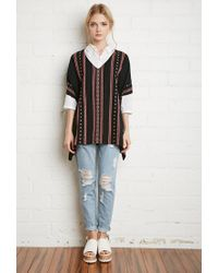 Forever 21 | Black Embroidered Cotton Poncho Top | Lyst