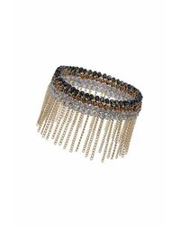 TOPSHOP | Blue Premium Bead And Chain Stretch Bracelet | Lyst