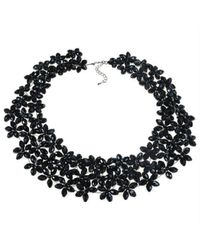 Aeravida | Lavish Mini Florals Black Crystal Statement Necklace | Lyst