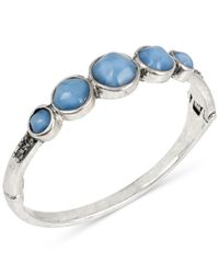Kenneth Cole | Blue Silver-tone Round Stone Hinged Bangle Bracelet | Lyst