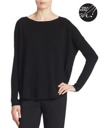 Lord & Taylor | Black Plus Curved Hem Cashmere Sweater | Lyst