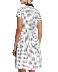 Oscar de la Renta - Black Short-sleeve Polka-dot Shirtdress - Lyst
