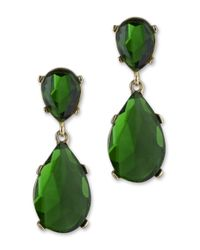 Kenneth Jay Lane | Green Emerald Teardrop Clip Earring | Lyst