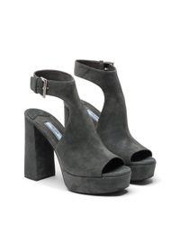 Prada - Gray Suede Platform Sandals - Lyst