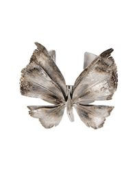 Valentino   Metallic Antiqued Silvertone Butterfly Cuff Bracelet   Lyst