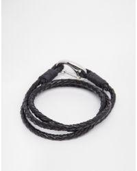 Seven London | Black Wraparound Plaited Bracelet for Men | Lyst