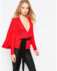 Oh My Love | Red H My Love Kimono Sleeve Top With Obi Belt | Lyst