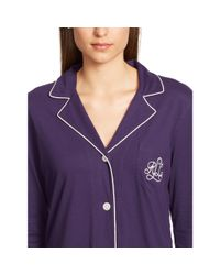 Ralph Lauren - Purple Cotton-blend-jersey Pajama Set - Lyst