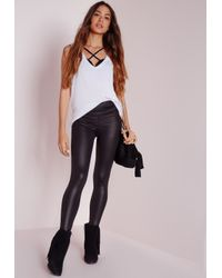Missguided - Tall High Waisted Shiny Leggings Black - Lyst