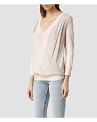 AllSaints - Natural Abi Knit Top - Lyst