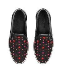Jimmy Choo - Blue Grove Olympic Red Denim Slip On Trainers With Multi Mix Stars for Men - Lyst