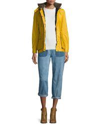 Belstaff - Yellow Waxed Long-sleeve Hooded Jacket - Lyst