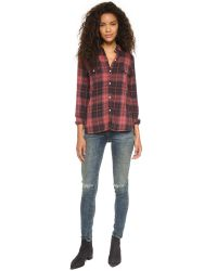 Sundry - Brown Flannel Plaid Shirt - Burgundy - Lyst