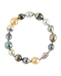 Belpearl | Multicolor Mixed Tahitian And South Sea Pearl Beaded Bracelet | Lyst
