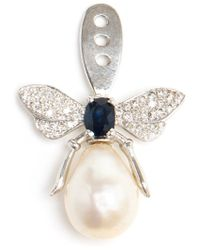 Yvonne Léon - White Pearl And Diamond Bee Lobe Earring - Lyst