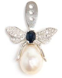 Yvonne Léon | White Pearl And Diamond Bee Lobe Earring | Lyst