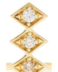 Azlee | Metallic 18k Gold And Diamonds Single Burst Ring | Lyst