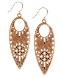 Lucky Brand - Metallic Cutout Leaf Drop Earrings - Lyst