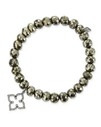 Sydney Evan - Metallic 8mm Faceted Champagne Pyrite Beaded Bracelet With 14k Gold/diamond Moroccan Charm - Lyst