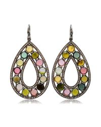 Bavna - Multicolor Sterling Silver Earrings With Pave Diamonds & Tourmaline - Lyst