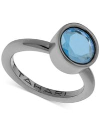 T Tahari - Blue Hematite-tone Mixed Jewels Round Stone Ring - Lyst