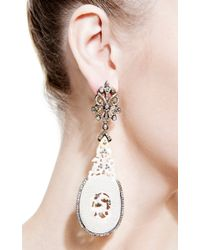 Bochic | Carved Mammoth and Diamond Earrings in Black and White | Lyst