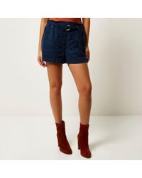 River Island - Blue Navy Denim-look D-ring Shorts - Lyst