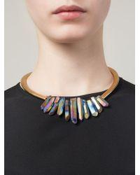 Katerina Psoma - Metallic Multi Stone Stiff Necklace - Lyst