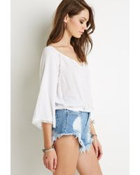 5e2aa54874f Forever 21. Women's White Embroidered Peasant Top You've Been Added To The  Waitlist
