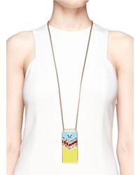 Lanvin - Multicolor 'calvi' Rhinestone Enamel Flag Necklace - Lyst